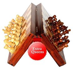 Best Chess Set Sale with 2 Extra Queens- 12 X 12 Inch Handmade Foldable Chess Set Board with Chessmen Storage Slots. Handmade Magnetic Chess Board - Christmas and Holiday Gifts from India. ** Visit the image link more details.