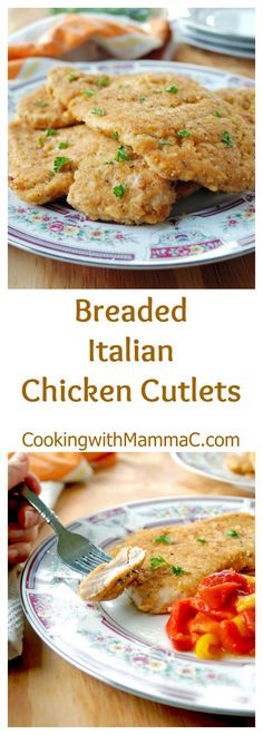 Breaded Italian Chicken Cutlets are so juicy and tender! My recipe is based on my family's version with homemade Italian bread crumbs that include Romano and Parmesan cheeses!