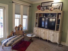 Vintage repurposed China cabinet to entertainment armoire. Upcycle Tracey's Fancy
