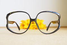 9b98950b7f216 Vintage Christian Dior Eyeglasses 1970s Glasses New Old Stock hipster retro  disco frames Oversize  Made In Germany Ebony Tone optyl
