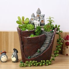Cheap flower pot holder, Buy Quality hanging garden directly from China creative flower pots Suppliers: Micro Landscape Artificial Flowers Succulent Plants Pot Tiny Creative Flower Pot Holders Hanging Garden Design with Sweet House Succulent Pots, Planting Succulents, Planting Flowers, Planter Pots, Hanging Flower Pots, Clay Flower Pots, Bonsai Plante, Fairy Garden Pots, Cactus Y Suculentas