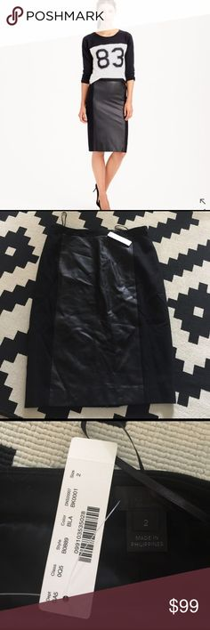 """J crew collection leather panel wool skirt Sz 2 Sits at waist. 23 1/2"""" long. Falls below knee. PRODUCT DETAILS Made in stretchy wool with leather detailing, this sleek pencil lets you mix a little bit of leather into your wardrobe without going all the way.  Wool/leather. Back zip. Lined. Dry clean. Import. Item B0889. J. Crew Skirts Pencil"""