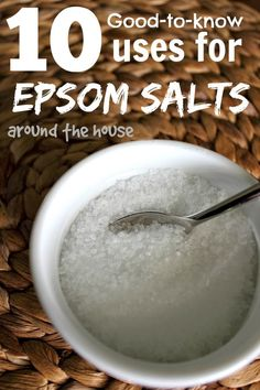 10 Good-to-know uses for Epsom Salts around the house >>>> Adding a tablespoon of epsom salt to the ground around a rose bush before watering each week is also supposed to help them grow faster and stronger. Herbal Remedies, Health Remedies, Home Remedies, Natural Remedies, Cleaning Solutions, Cleaning Hacks, Epsom Salt Uses, Just In Case, Just For You