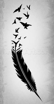 how to draw a black feather, black feather tattoo