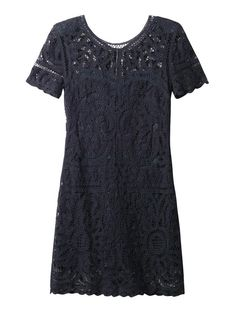 $207, Navy Lace Sheath Dress: Sea Battenburg Lace Dress. Sold by MATCHESFASHION.COM. Click for more info: https://lookastic.com/women/shop_items/67944/redirect
