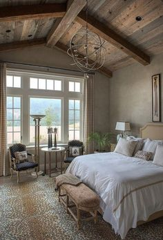 We'll help you organize your dream bedroom that suits you exactly. If you haven't decided what your dream bedroom will look like yet, these Master Bedroom Design Ideas will be a great inspiration to you. Modern Bedroom, Bedroom Decor, Bedroom Ideas, Rustic Bedroom Design, Rustic Bedrooms, Rustic House Design, Woodsy Bedroom, Vaulted Ceiling Bedroom, Barn Bedrooms