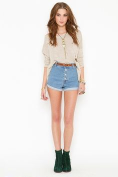 high waisted shorts with scrunched sleeves