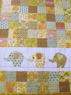 Elephant blanket (Cute baby quilt and you could use any color combo and animal or butterfly flowers.