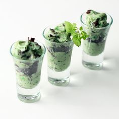 """Looking for a """"Green"""" recipe? Layers of crunchy Chocolate Cookies compliment Mint Yonanas in this Grasshopper Parfait!"""