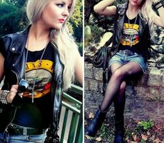 ImageFind images and videos about girl, rock and leather on We Heart It - the app to get lost in what you love. 80s Rock Fashion, Punk Fashion, Grunge Fashion, Girl Fashion, Style Fashion, Rocker Fashion, Hipster Outfits, Mode Outfits, Office Outfits