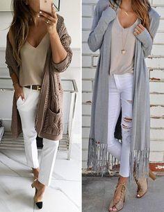 Длинный кардиган и джинсы #cardigan #streetstyle