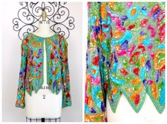 RARE Bright Beaded Sequined Jacket / Green Orange Blue Red Pink and Purple Floral Heavily Embellished Sequin Blazer by braxae on Etsy
