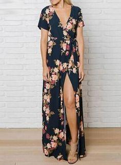 Idée et inspiration look d'été tendance 2017 Image Description Polyester Florale Manches courtes Maxi Décontracté Robes