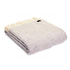 Pure New Wool Beehive Throw Blanket Grey