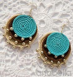 Crochet Earrings - Most popular earrings among girls! crochet earrings boho turquoise crochet pendant and earrings biceutl Boho Crochet, Thread Crochet, Crochet Crafts, Textile Jewelry, Fabric Jewelry, Jewellery, Crochet Earrings Pattern, Crochet Necklace, Crochet Collar