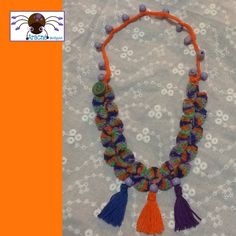 Crochet necklace with wooden beads, cute and light.