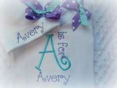 Personalized Baby Girl  Onesie and Hat Set, Monogram, with coordinating shoulder bows, purple, turquoise