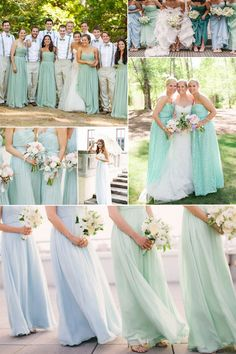 Long Chiffon Mint Bridesmaid Dresses - Spring Summer wedding 2014 trends. Re-pin if you like. Via Inweddingdress.com #bridesmaid