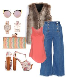 """""""Peachy Jean"""" by ms-shoezy on Polyvore featuring Chicwish, Steve J & Yoni P, 40WEFT, Sophia Webster, Fendi, Jessica Simpson, Accessorize and Michael Kors"""