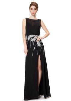 Jewel Floor Length Black Chiffon A-Line Evening Dress