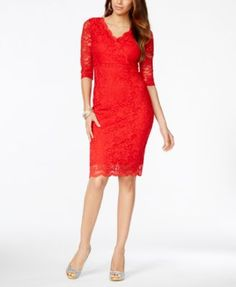 Thalia Sodi Go Red for Women® Lace Surplice Sheath Dress, Only at Macy's | macys.com