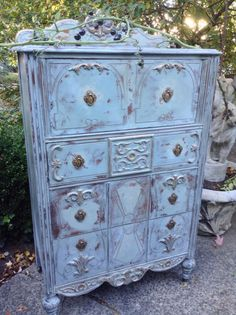 Painted Chest of Drawers  - Annie Sloan Chalk Paint  - French Country Dresser Antique Blue Dresser - Shabby Chic Dresser by DareToBeVintage