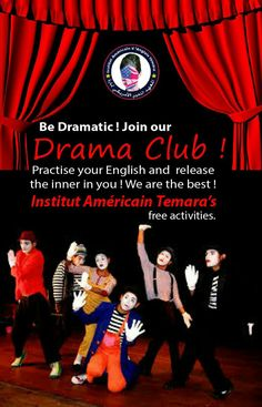 نادي #المسرح الخاص بطلبة #المعهد #اللغوي #الامريكي #تمارة يعود من جديد ! New this #Spring Session 2016 at institut américain temara !   Drama Club for all the students : Develop more self-confidence, #creativity, and be a star. Activities include #improvisation, #role play, #body language, #script writing, basic #theater #games and #acting exercises !   #beastar #dramaclub #freeactivities #actout #usa #rabat #temara #morocco #center #centre #american #language