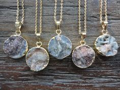 Druzy Gold Pendant Necklace/Amorite Chalcedony Rose/Natural Geode Druzy/Choose Your Pendant by AprilSueDesigns on Etsy