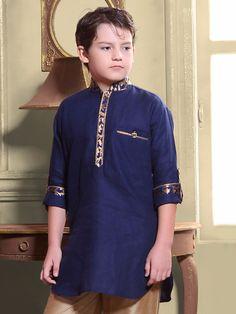 G3 Exclusive Cotton Plain Blue Boys Short Pathani