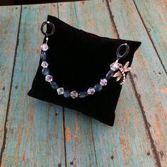 Beaded Stethoscope Charm  Blue & White Crystal with by DungleBees, $9.99