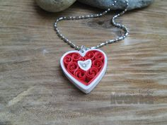 Quilling necklace Red Heart paper quilling jewelry by ivonabg