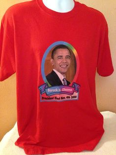 Barack H Obama Red Portrait 2008 TShirt Size Large Rare  | eBay
