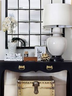 Brass Campaign Trunk on Etsy, styling, gold urchin, white ginger jar lamp, white orchid, hollywood regency style,