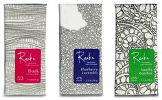 Raaka_chocolate - different backgrounds/colours, illustration Cool Packaging, Tea Packaging, Brand Packaging, Packaging Design Inspiration, Graphic Design Inspiration, Laura G, Label Design, Package Design, Food Graphic Design