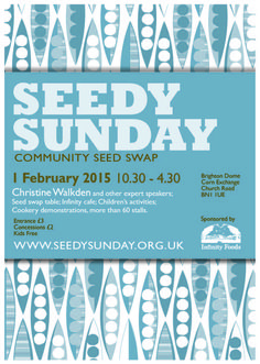 Poster for Seedy Sunday. Community Seed Swap Brighton UK 1st Feb 2015 LUCID DESIGN