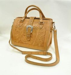 Vintage Tooled Leather Western Doctor's Bag Purse