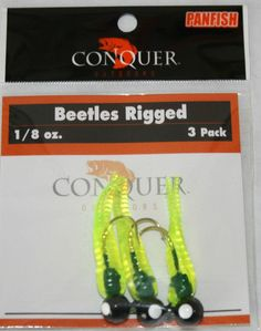 Beetle Bodied Grub With Jig head 3pack 1/8oz Bass Crappie  #Unbranded