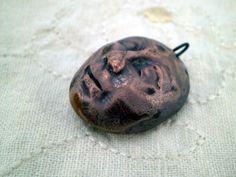 Pottery Face Bead, Ceramic Beads, Raku Beads, Boho Beads, Hippie Beads, Rustic Beads by spinningstarstudio on Etsy