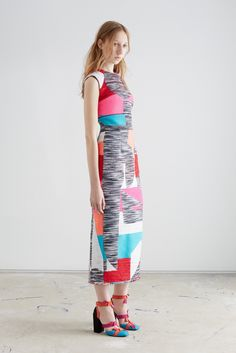 Roksanda | Resort 2016 | 03 Multicolored mottled sleeveless midi dress