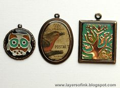 Layers of ink - Sizzix/Vintaj Bezel Pendants Tutorial by Anna-Karin, for the Sizzix & Vintaj Bezel Jewelry blog hop, also with products by Ranger Ink and Tim Holtz.