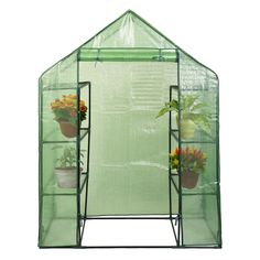 Costway Portable Mini Walk In Outdoor 4 Tier 8 Shelves Greenhouse * Visit the image link more details.