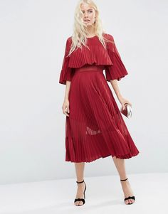 ASOS+Pleated+Sheer+And+Solid+Crop+Top+Midi+Dress