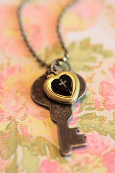 Heart Locket Necklace With Black Heart And Cross Mourning Jewelry