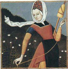 this type of drop spindle wool spinning is still practiced in Ecuador. The Distaff Gospels is a century French collection of more than 250 popular beliefs, forming a sort of gospel of late medieval women's wisdom Medieval Life, Medieval Art, Renaissance Art, Renaissance Fashion, Spinning Wool, Hand Spinning, Medieval Manuscript, Illuminated Manuscript, Drop Spindle