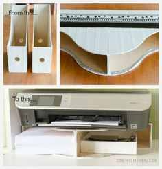 Easy DIY Desktop Printer Shelf ~ Tutorial showing how to easily create a space saving storage shelf on a desktop for your printer and printer paper! A great idea for an easy DIY project to add organization to your office space! Organizing Hacks, Home Office Organization, Diy Hacks, Magazine Organization, Computer Desk Organization, Craft Organization, Craft Storage, Home Office Storage, Home Office Decor