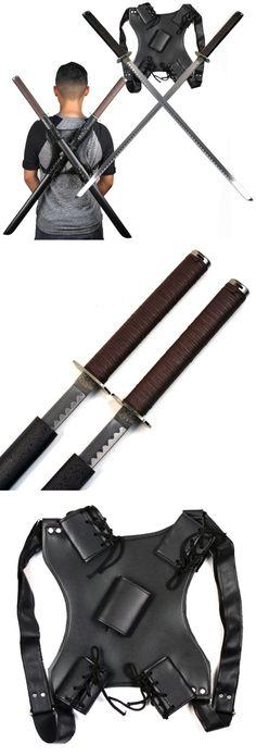 Leonardo Dual Ninja Swords Cool Knives, Knives And Swords, Real Batman Suit, Katana, Ninja Sword, Apocalypse Survival, X21, Cow Skin, Cool Guns