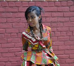 African Print Top  Justina Wrap Top by CHENBURKETTNY on Etsy