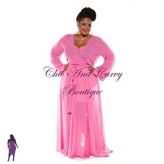New Plus Size Pink Chiffon Dress available at www.chicandcurvy.com