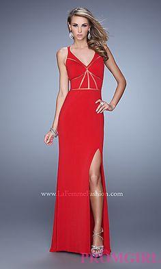Long V-neck La Femme Prom Dress at PromGirl.com
