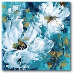 Latitude Run 'Flowers II' Vertical Print on Wrapped Canvas acrylicart Acrylic Painting Flowers, Abstract Flowers, Acrylic Art, Canvas Art Prints, Painting Prints, Canvas Wall Art, Paintings On Canvas, Blue Canvas, Flower Canvas Art